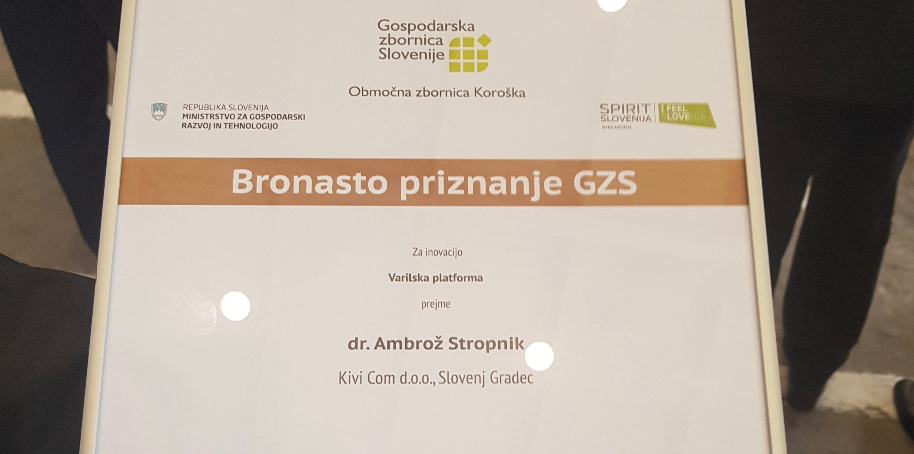 Bronze Medal Recognition by Slovenian Chamber of Industry and Crafts, for achievement in: Innovation  - Welding Platform